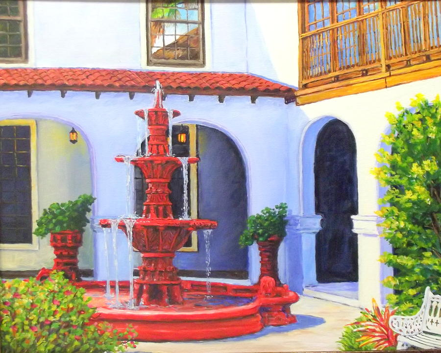 The Old Red Fountaine Painting