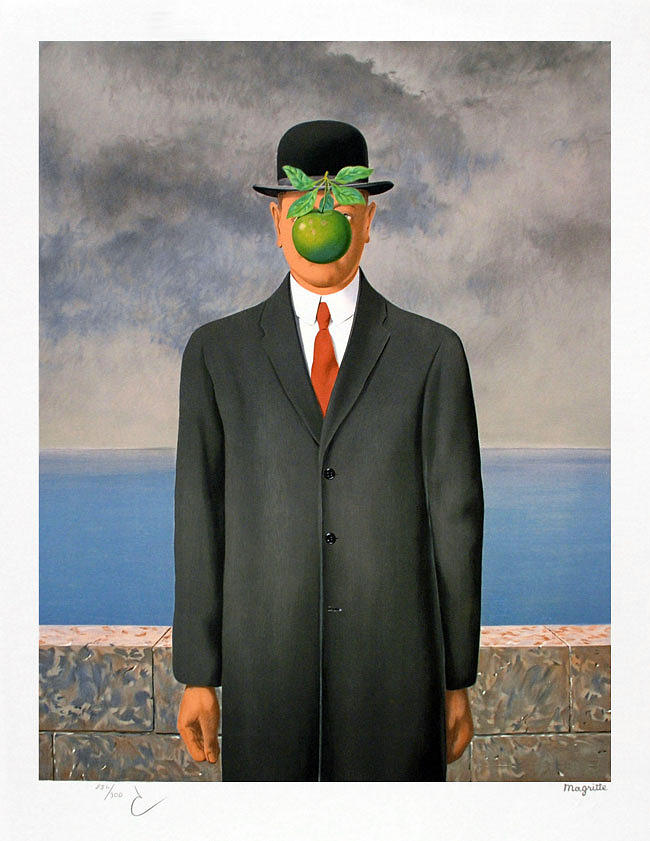 The son of man by rene magritte - Tableau chapeau melon pomme verte ...