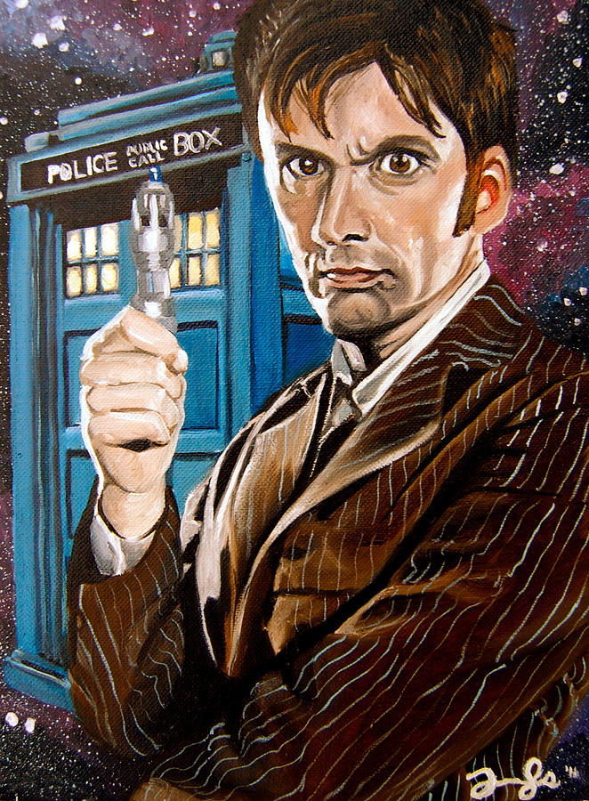 The Tenth Doctor And His Tardis Painting  - The Tenth Doctor And His Tardis Fine Art Print