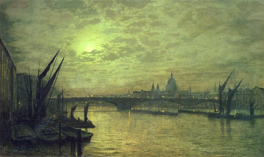 The Thames By Moonlight With Southwark Bridge Painting  - The Thames By Moonlight With Southwark Bridge Fine Art Print