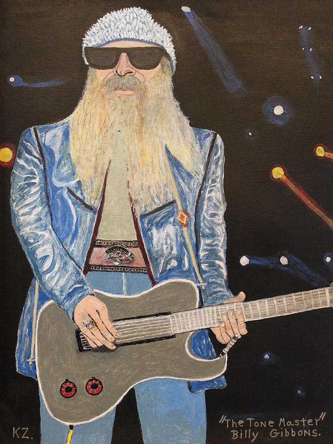 The Tone Master.billy Gibbons. Painting  - The Tone Master.billy Gibbons. Fine Art Print