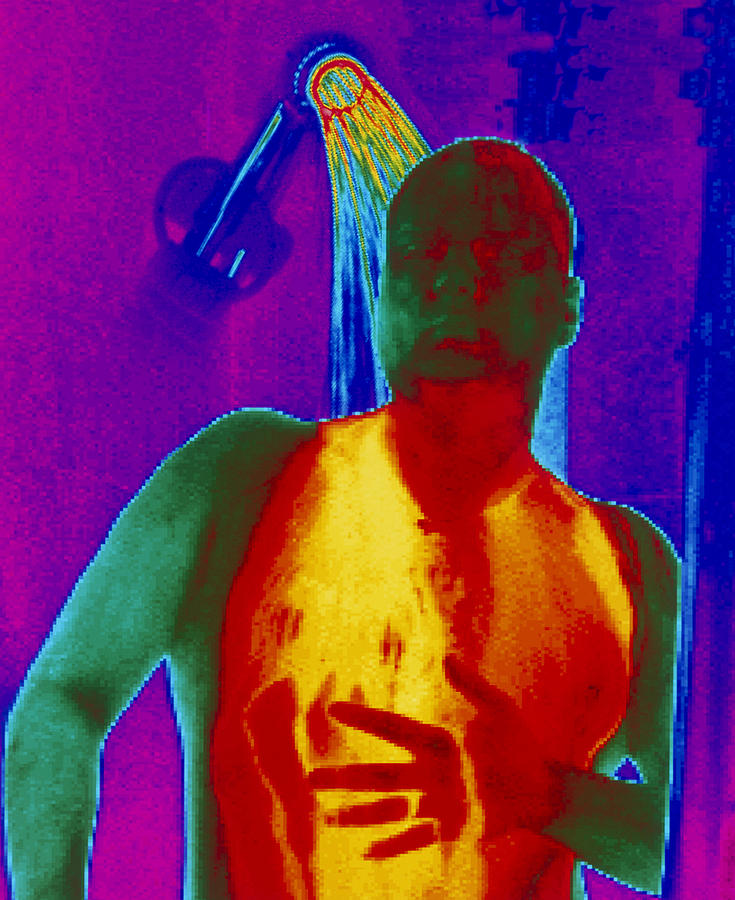 Thermogram Of A Man Taking A Shower Photograph