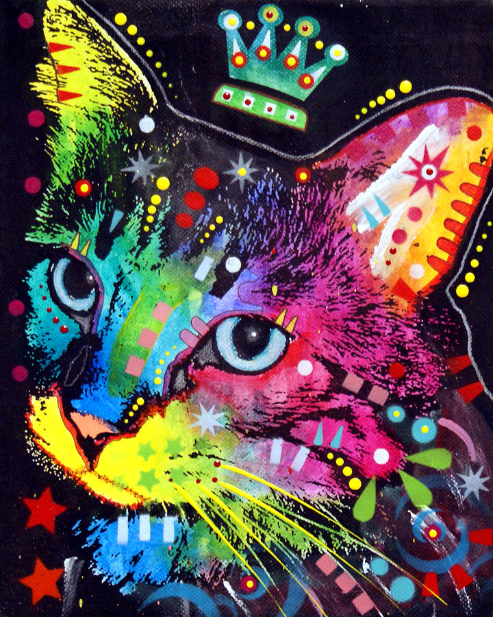 Thinking Cat Crowned Painting  - Thinking Cat Crowned Fine Art Print