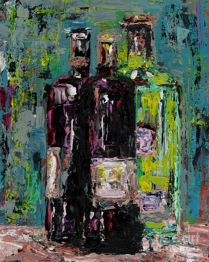 Three Bottles Of Wine Painting  - Three Bottles Of Wine Fine Art Print