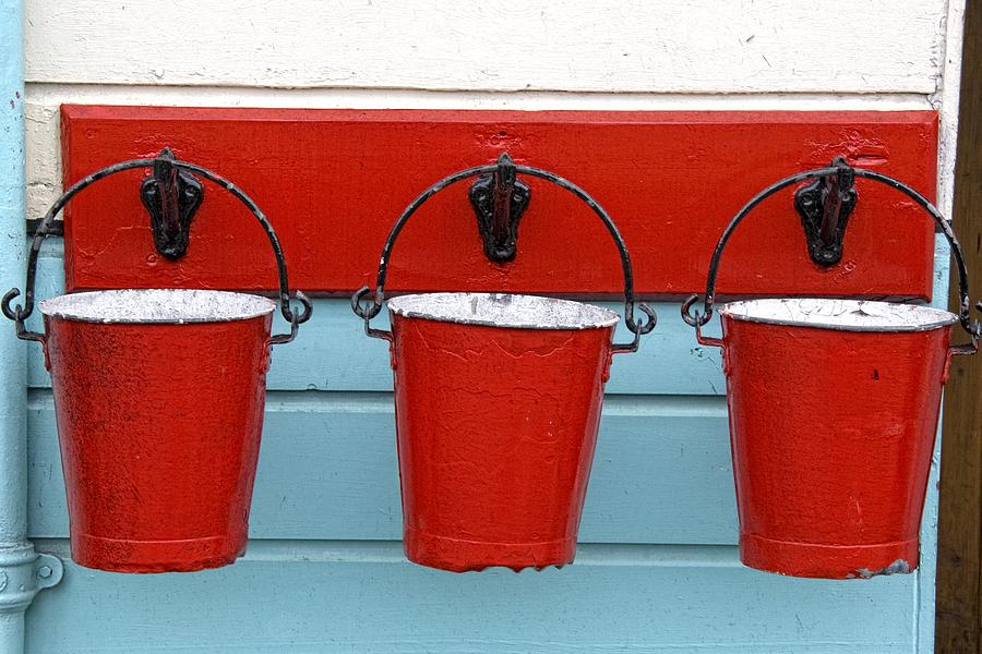 Three Red Buckets Photograph