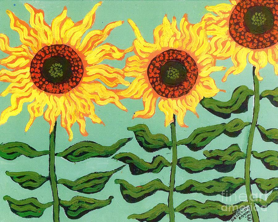 Three Sunflowers Painting  - Three Sunflowers Fine Art Print
