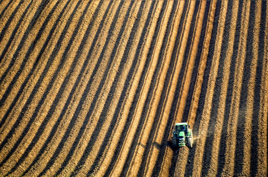 Tractor Plowing A Field Photograph