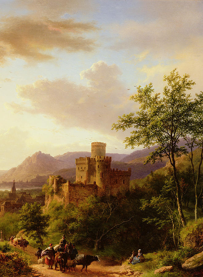 Castle; Towers; Estuary; River; Town; Boats; Crags; Oxen; Traveller; Rhine; Ruins; Romantic; Sailing Vessels; Tower Painting - Travellers On A Path In An Extensive Rhineland Landscape by Barend Cornelis Koekkoek