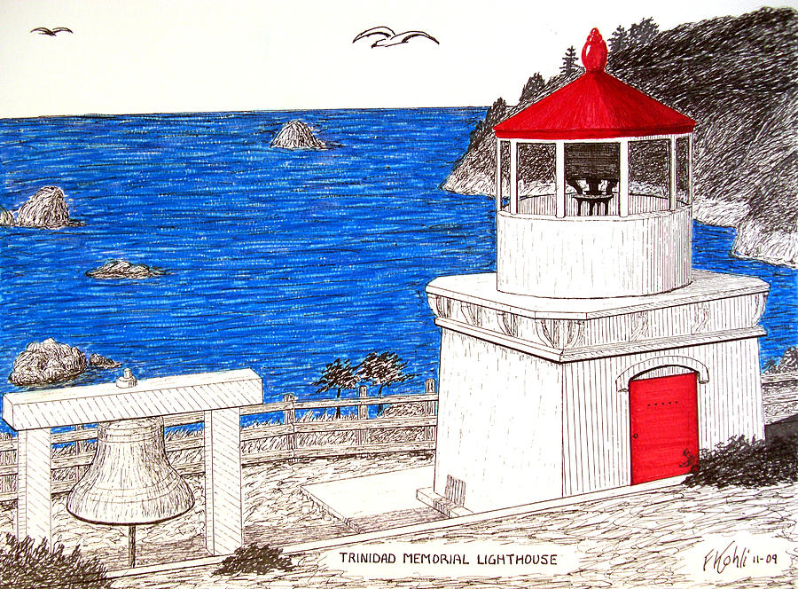 Trinidad Memorial Lighthouse Drawing  - Trinidad Memorial Lighthouse Fine Art Print