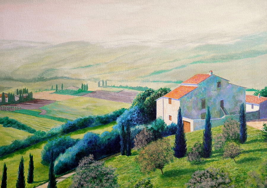 Tuscan Landscape Painting  - Tuscan Landscape Fine Art Print