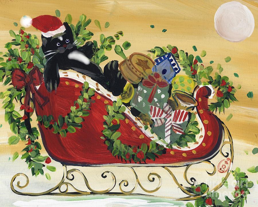 Tuxedo Santa Claus  Cat Painting