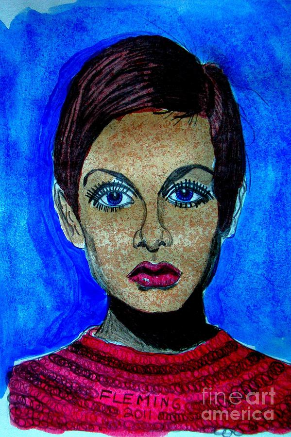 Mixed Media - Twiggy In Blue by Timothy Fleming