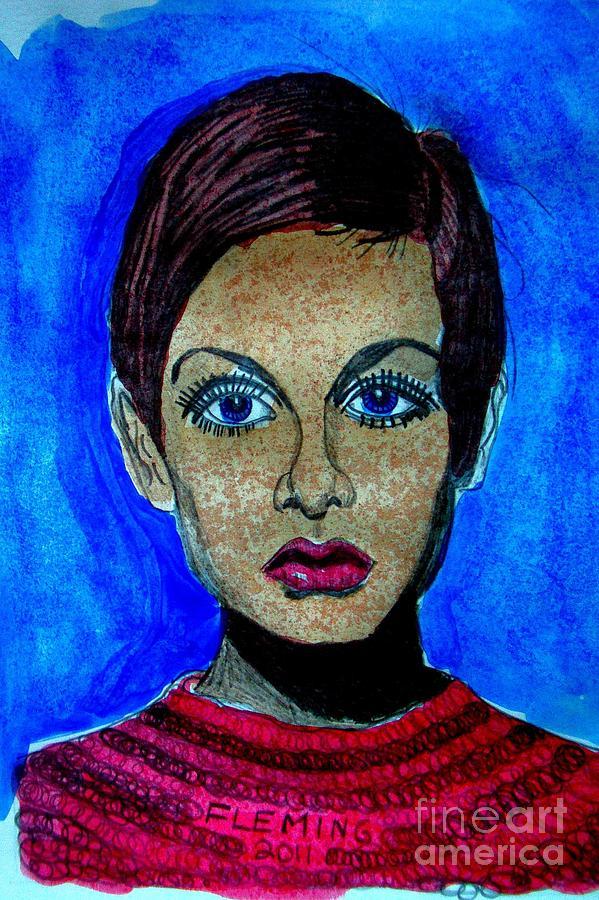 Twiggy In Blue Mixed Media