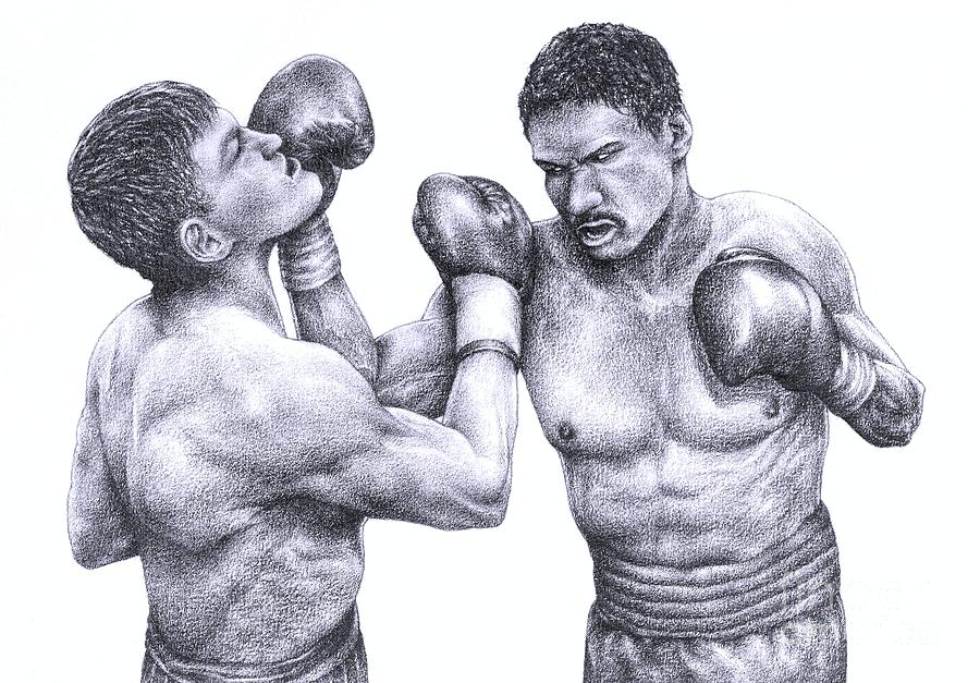 Boxers Drawing - Two Boxers Slug It Out by Evelyn Sichrovsky