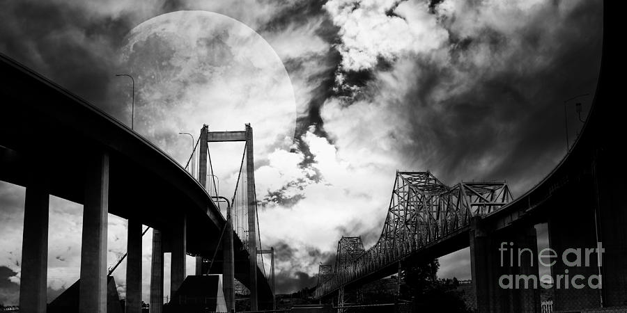 Two Bridges One Moon Photograph