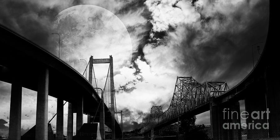 Two Bridges One Moon Photograph
