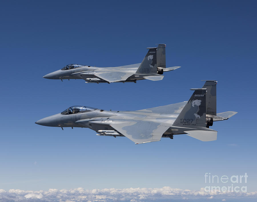 Two F-15 Eagles Conduct Air-to-air Photograph