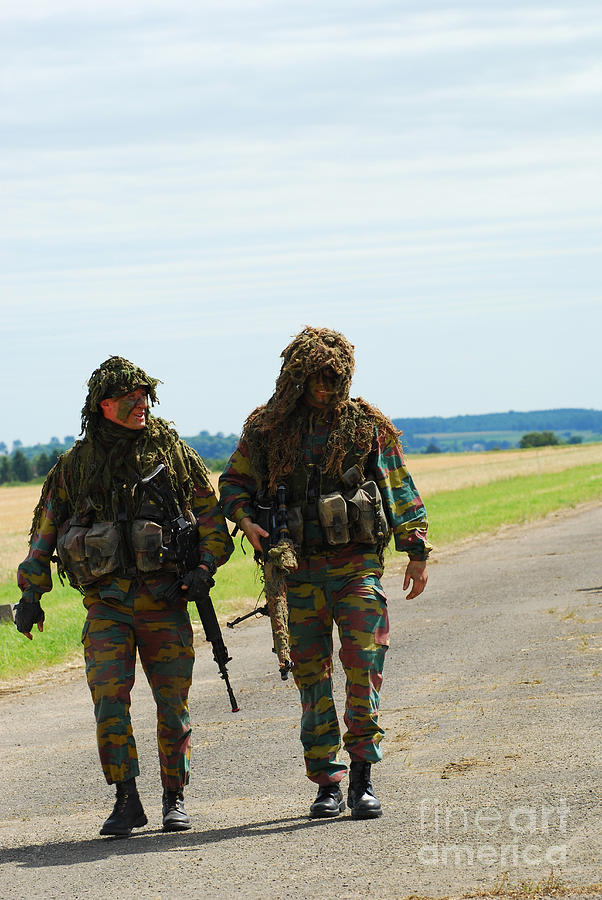 Two Snipers Of The Belgian Army Dressed Photograph  - Two Snipers Of The Belgian Army Dressed Fine Art Print
