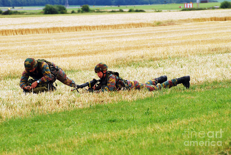 Two Soldiers Of The Belgian Army Photograph  - Two Soldiers Of The Belgian Army Fine Art Print