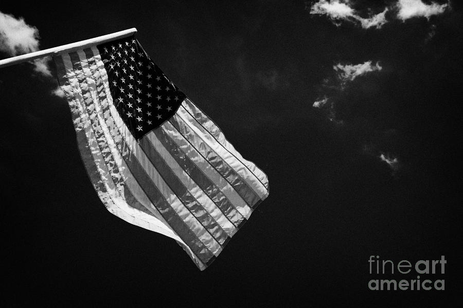 Us American Flag On Flagpole Against Blue Cloudy Sky Usa Photograph  - Us American Flag On Flagpole Against Blue Cloudy Sky Usa Fine Art Print