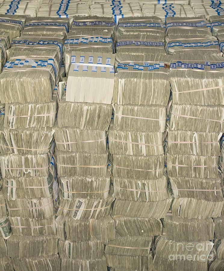 Architectural Photograph - Us Cash Bundles by Adam Crowley