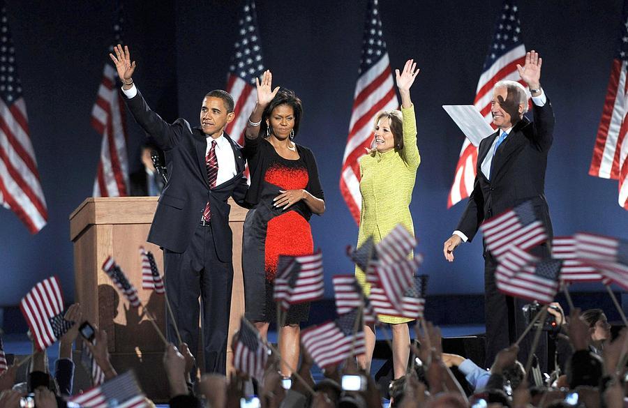 Barack Obama U.s. Presidential Election Victory Speech And Celebration Photograph - U.s. President Elect Senator Barack by Everett