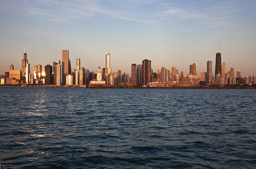 Usa, Illinois, Chicago, City Skyline Over Lake Michigan Photograph  - Usa, Illinois, Chicago, City Skyline Over Lake Michigan Fine Art Print