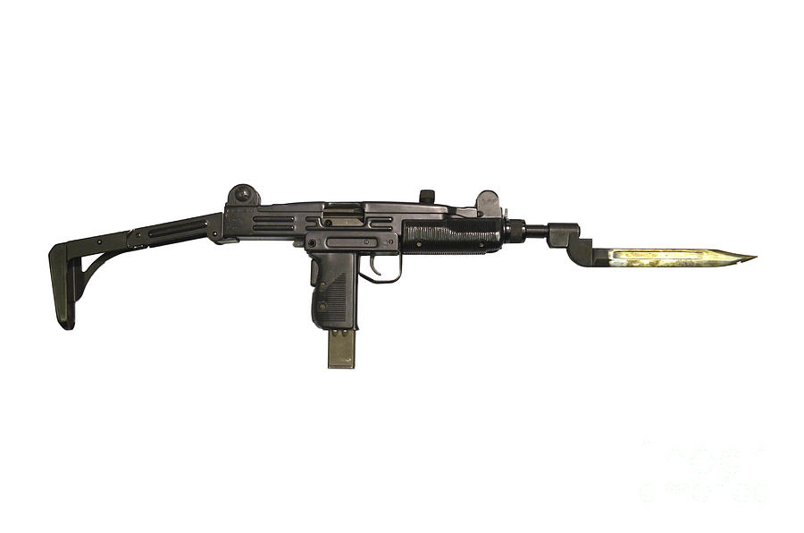 Uzi 9mm Submachine Gun With Attached Photograph  - Uzi 9mm Submachine Gun With Attached Fine Art Print
