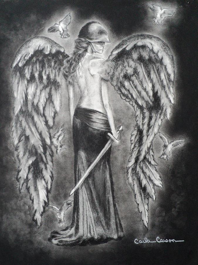 Valkyrie Angel Drawing  - Valkyrie Angel Fine Art Print