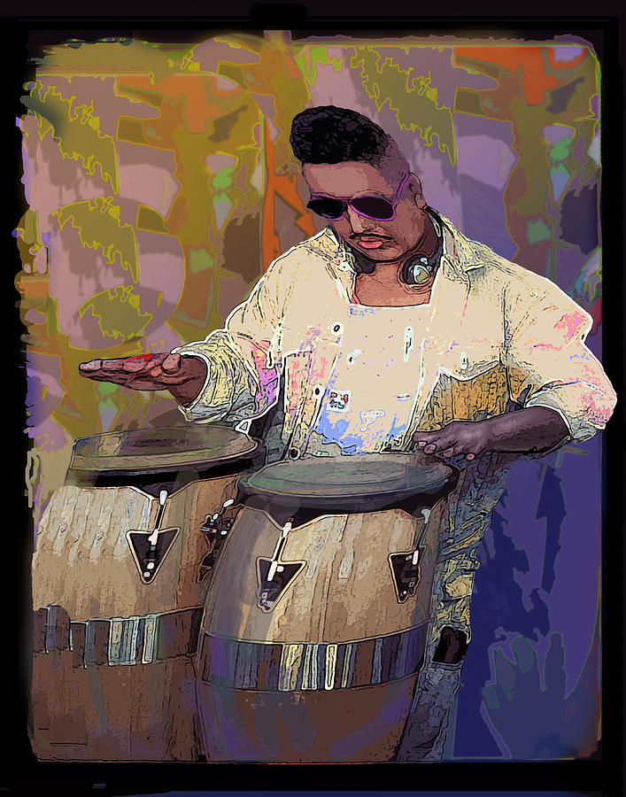 Venice Beach Drummer Digital Art  - Venice Beach Drummer Fine Art Print