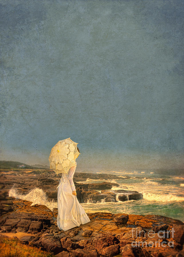 Victorian Lady By The Sea Photograph