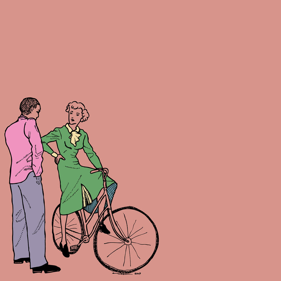 Vintage Bike Couple Drawing