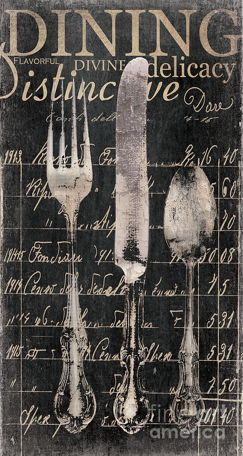 Vintage Dining Utensils In Black  Painting