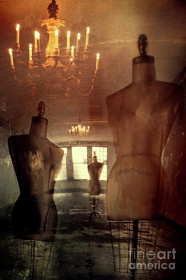 Vintage Dressforms With Abstract Grunge Background Photograph