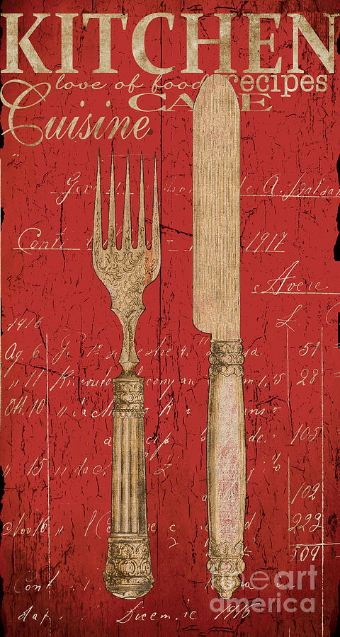 Vintage kitchen utensils in red painting by grace pullen for Kitchen art pictures