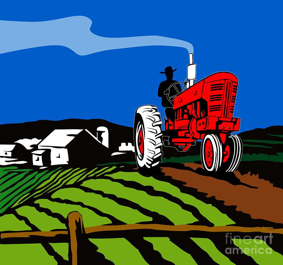 Vintage Tractor Retro Digital Art