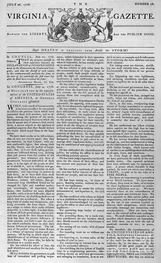 Virginia Gazette, 1776 Photograph