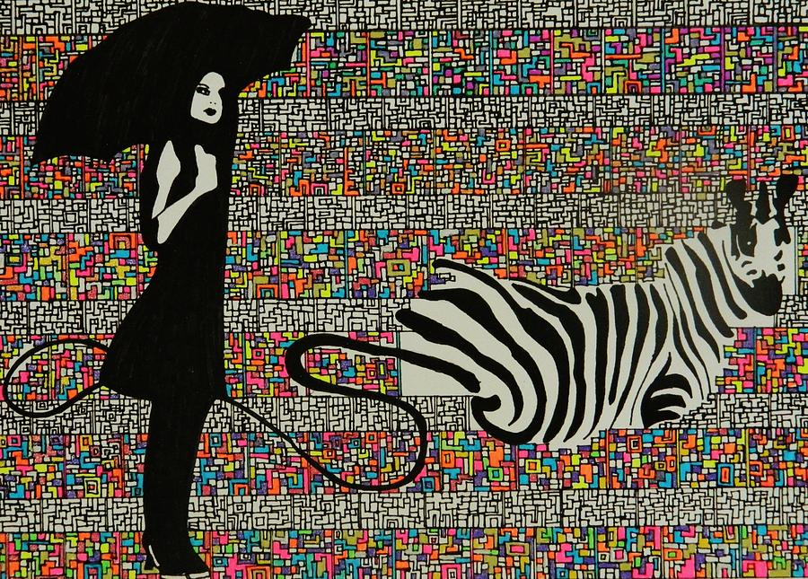 Walking The Zebra Drawing  - Walking The Zebra Fine Art Print
