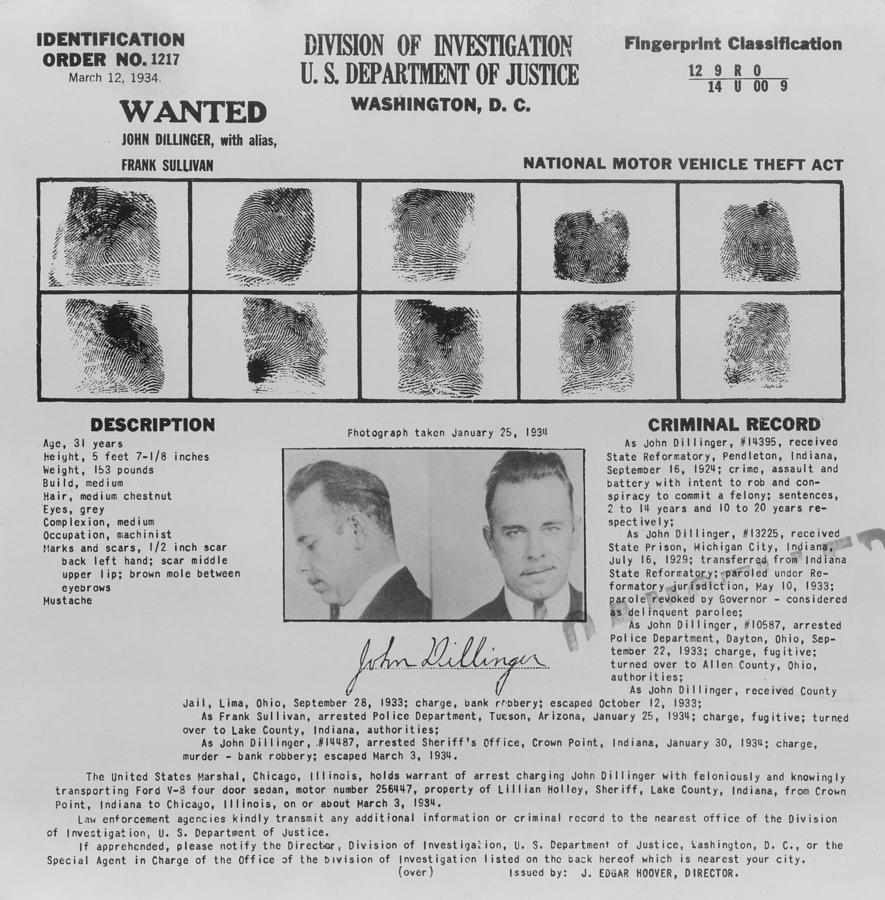 Wanted Poster For John Dillinger Photograph