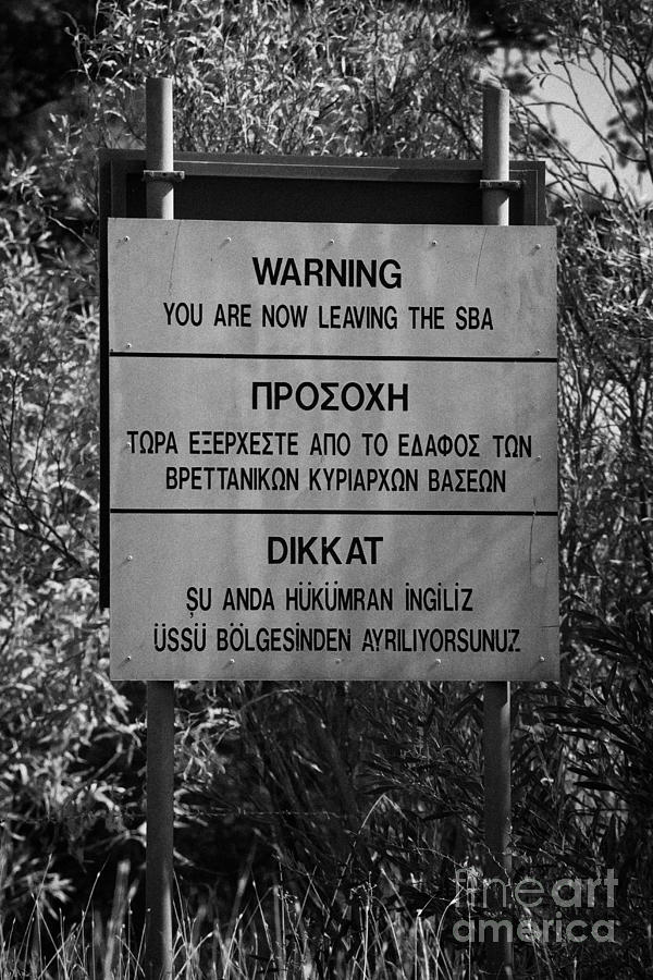 warning sign warning of the border of the turkish military controlled area of the SBA Sovereign Base Photograph