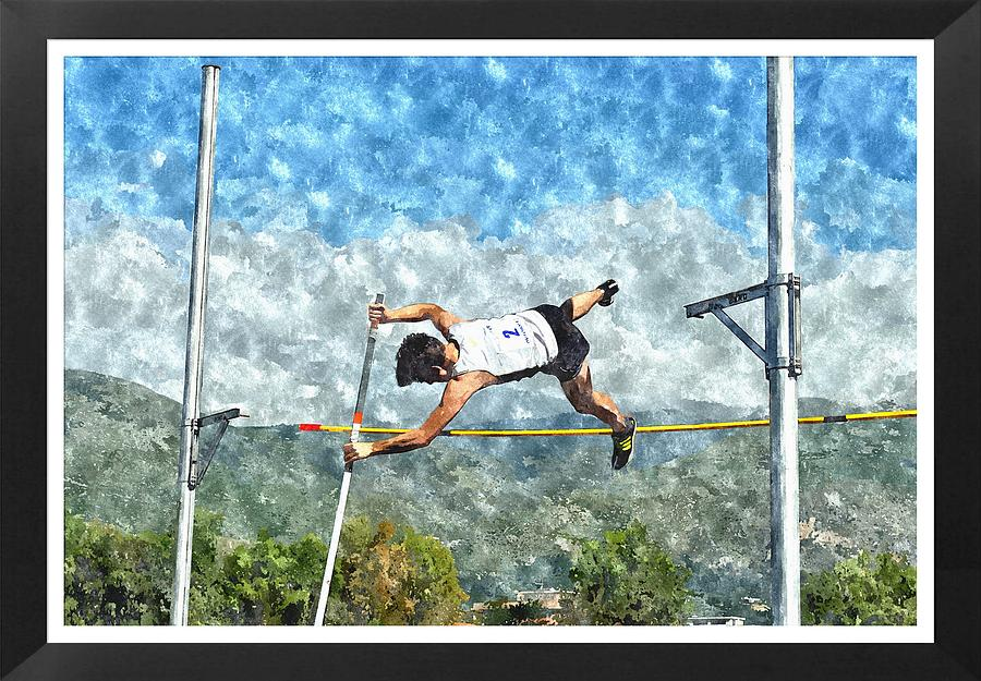 Watercolor Design Of Pole Vault Jump Painting  - Watercolor Design Of Pole Vault Jump Fine Art Print