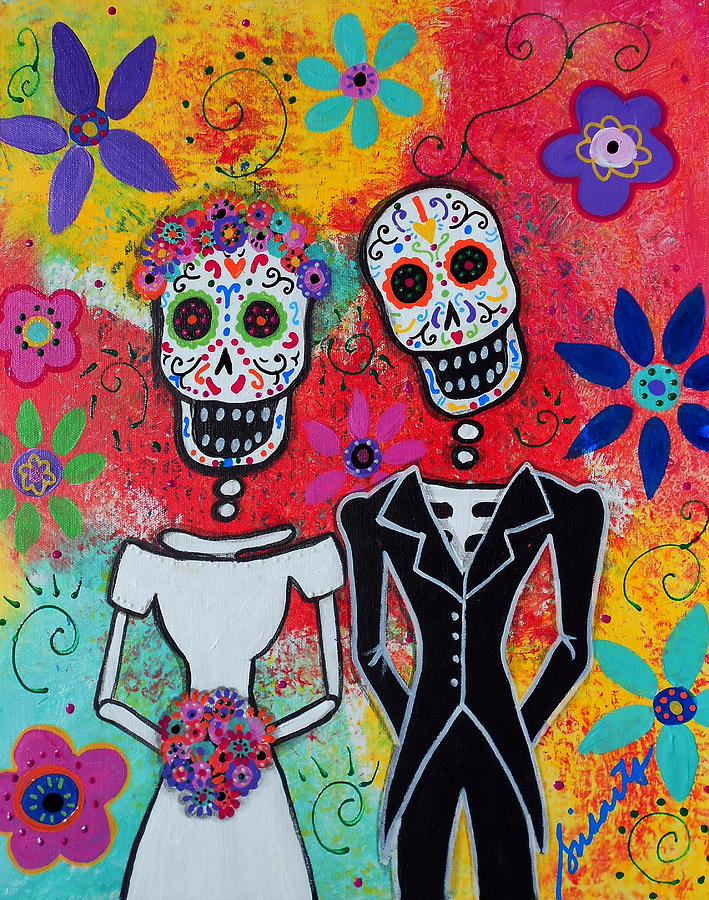 Day Of The Dead Painting - Wedding Day Of The Dead by Pristine Cartera ...