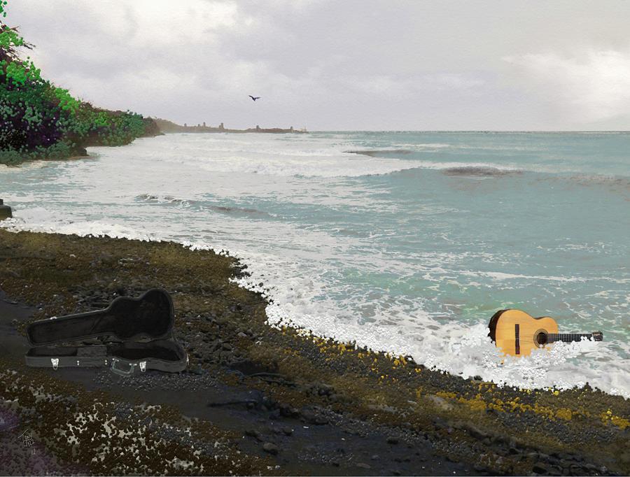 Seascape Digital Art - Wet Guitar by Tony Rodriguez