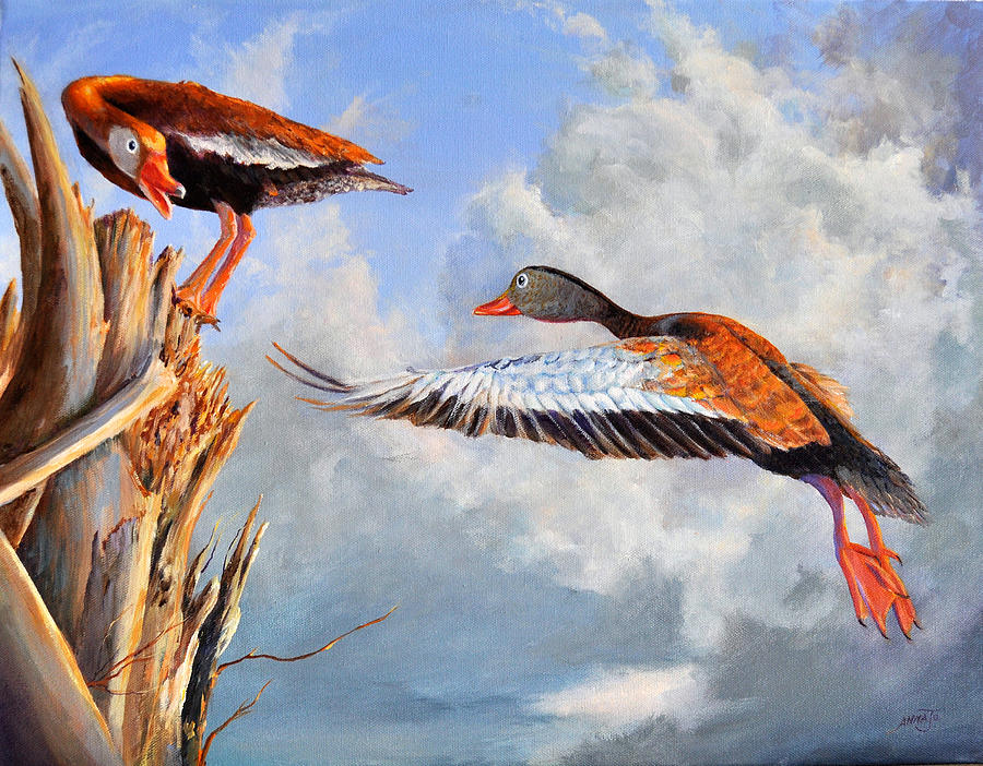 Black Bellied Whistling Ducks Painting - What Are You Whistling At by AnnaJo Vahle