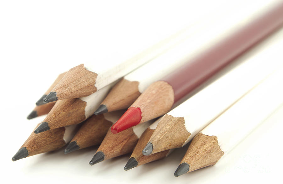 White And Red Pencils Photograph