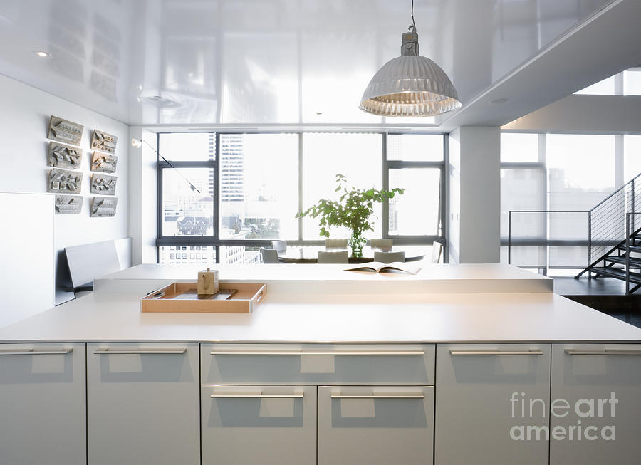 White Counters And Dining Area Photograph  - White Counters And Dining Area Fine Art Print