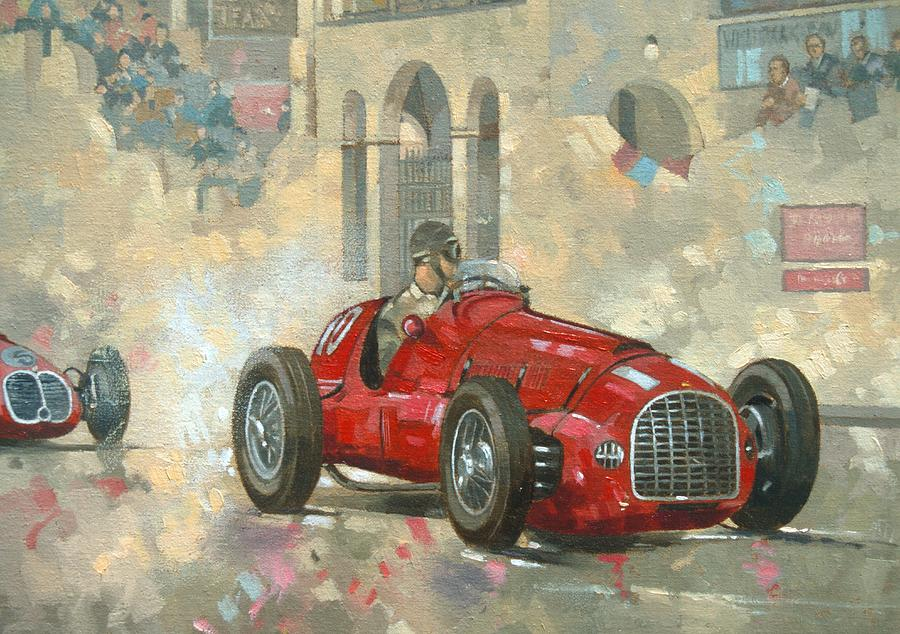 Whiteheads Ferrari Passing The Pavillion - Jersey Painting  - Whiteheads Ferrari Passing The Pavillion - Jersey Fine Art Print
