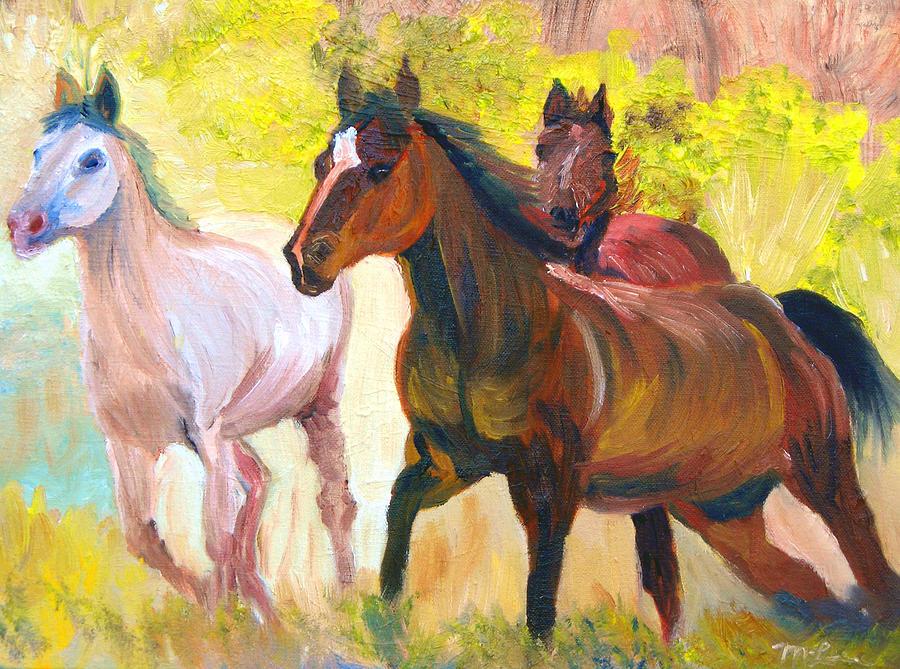 Wild Horses Running Painting
