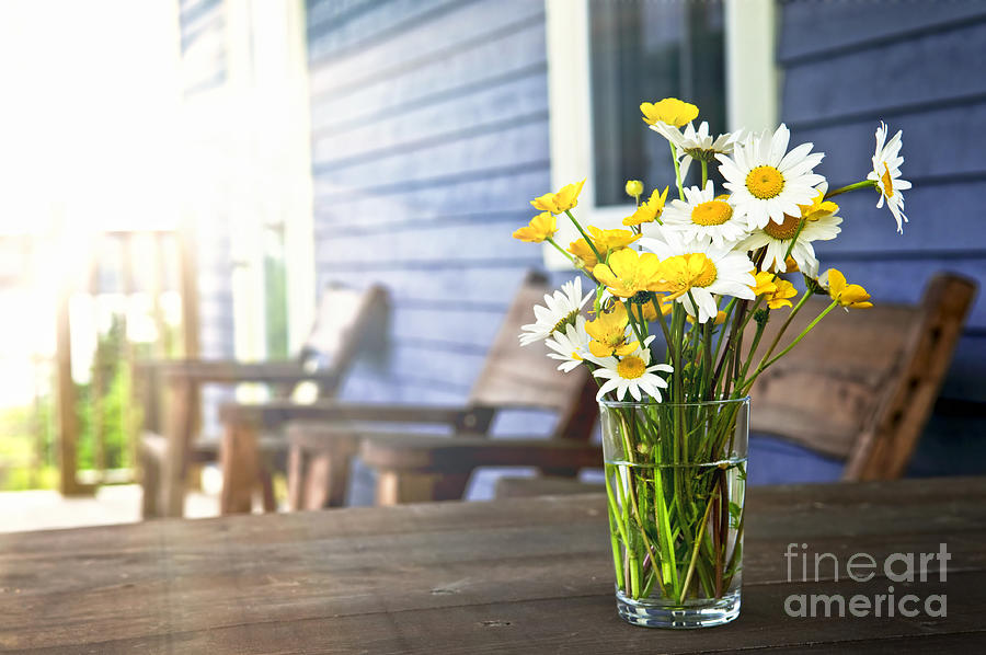 Wildflowers Bouquet At Cottage Photograph