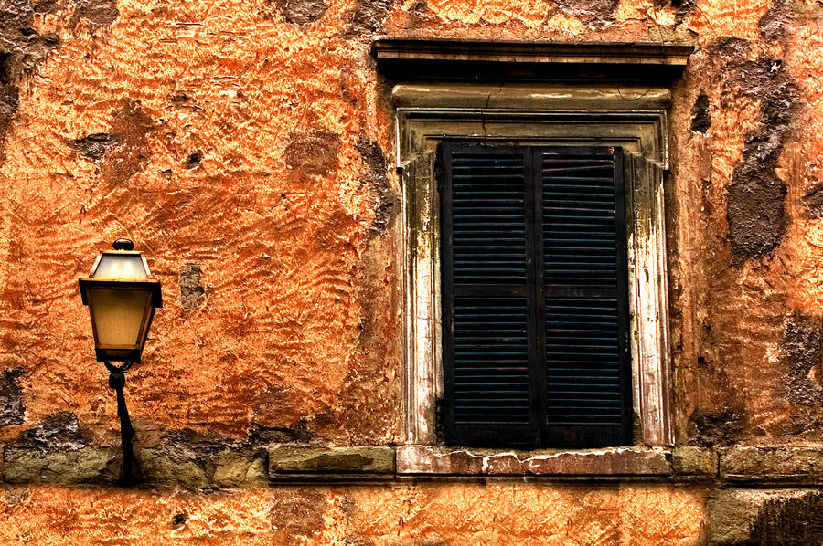 Window And Lamp Rome Italy Photograph  - Window And Lamp Rome Italy Fine Art Print
